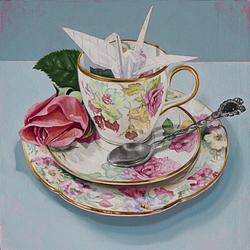 (CreativeWork) Tea on Turquoise by Melissa Ritchie. Oil. Shop online at Bluethumb.