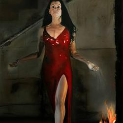 (CreativeWork) Indigenous Fire - Portrait of Miriam Corowa by Mertim Gokalp. Oil. Shop online at Bluethumb.