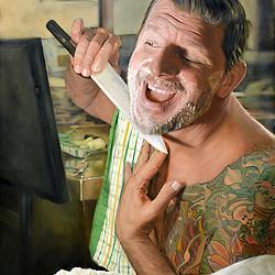 (CreativeWork) Getting ready for dinner ( Portrait of Manu Feildel ) by Mertim Gokalp. Oil. Shop online at Bluethumb.