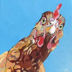 (CreativeWork) Chook by Kate Gradwell. Acrylic. Shop online at Bluethumb.