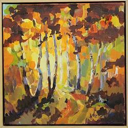 (CreativeWork) Avenue in Autumn by Leeka Gruzdeff. Acrylic. Shop online at Bluethumb.