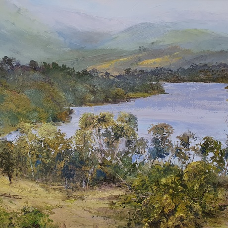 (CreativeWork) Huon Valley Mist by Peter Smith. Oil. Shop online at Bluethumb.