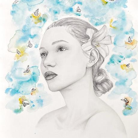 """(CreativeWork) """"Daydream"""" Portrait of woman daydreaming surrounded by butterflies  by Charlotte Beddoes. Mixed Media. Shop online at Bluethumb."""