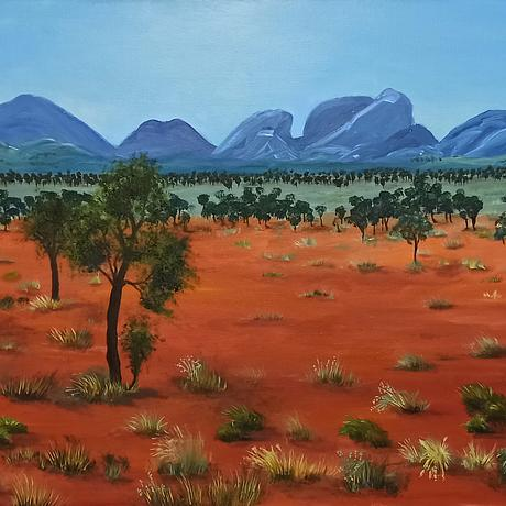 Distance, Red desert and mountains