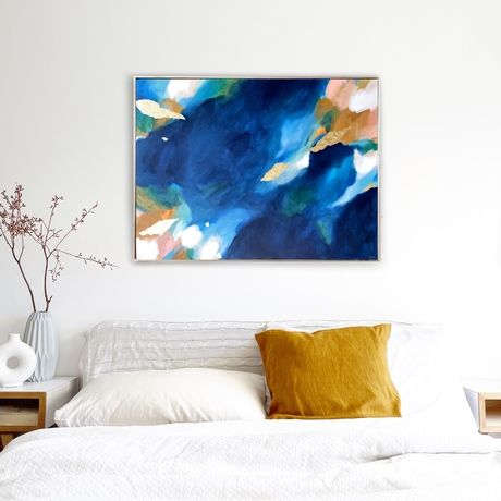 Abstract Rockpool with blues, greens, gold and peach