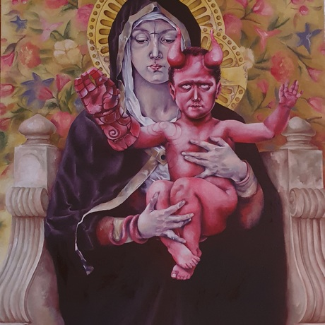 (CreativeWork) Madonna with Hellchild by Tim Holiday. Oil. Shop online at Bluethumb.