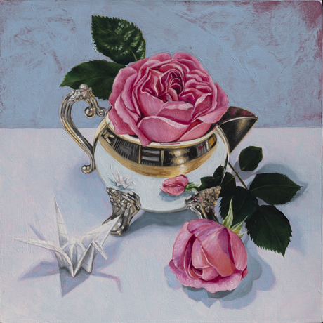 (CreativeWork) Silver Jug and the Roses by Melissa Ritchie. Oil. Shop online at Bluethumb.