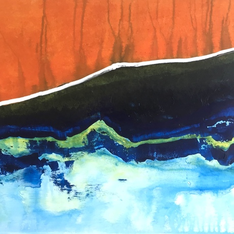 (CreativeWork) When the Sun Meets the Sea by Yvette Swan. Acrylic. Shop online at Bluethumb.