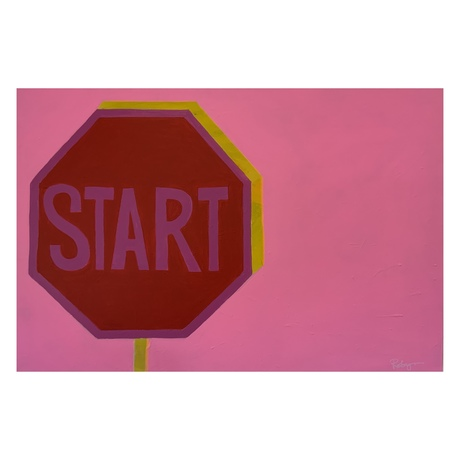 Red stop sign on colourful pink background