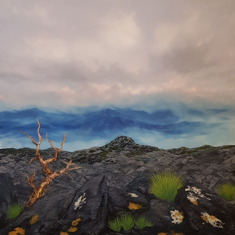 (CreativeWork) Reaching the Summit by Phillip McKay. Oil. Shop online at Bluethumb.