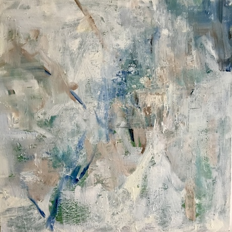 Blue and white abstract artwork