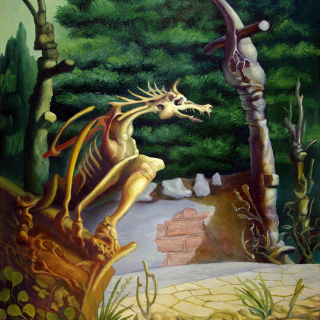A surreal  slightly dog-like animal sitting on a crumbling wall. A second beast seated on a pillar and a dark-green hedge in the background.