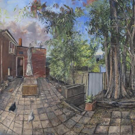 (CreativeWork) Lockdown Landscape by Marco Corsini. Oil. Shop online at Bluethumb.