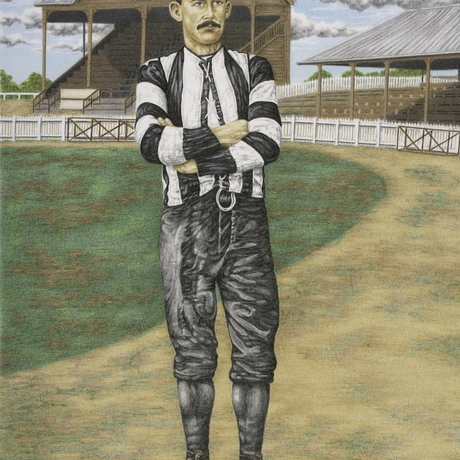 """(CreativeWork) Lawrence """"Lardie"""" Tulloch, Collingwood fc by DJ Williams. Drawing. Shop online at Bluethumb."""