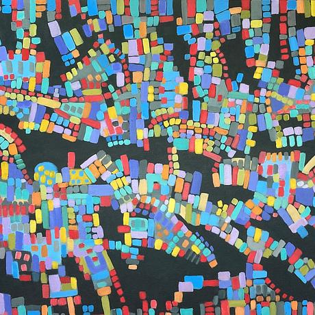 abstract overview of a city using bright colors including red and blue