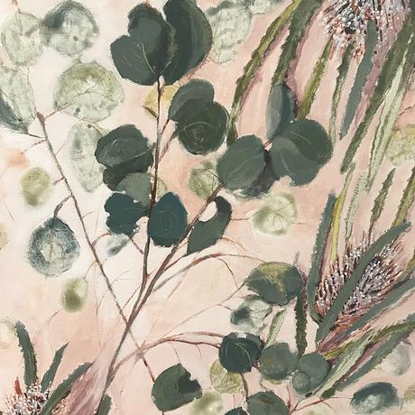 gum leaves and banksia painting apricot background gum leaf painting modern painting
