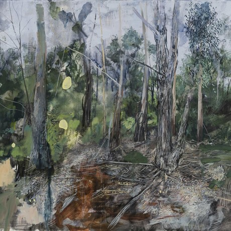 (CreativeWork) Gardiners Creek in grey by Marco Corsini. Oil. Shop online at Bluethumb.