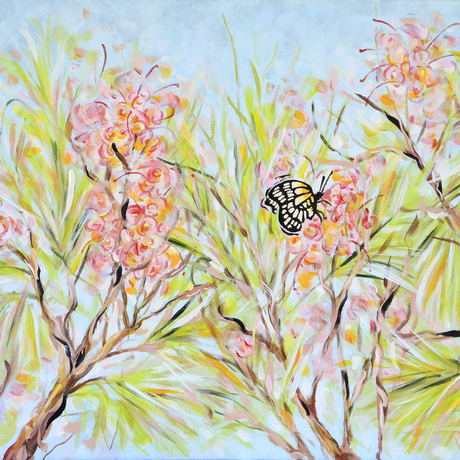 Pink flowers and butterfly atop bush
