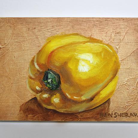 (CreativeWork) Yellow Capsicum Study 1 by Ben Sherar. Oil. Shop online at Bluethumb.