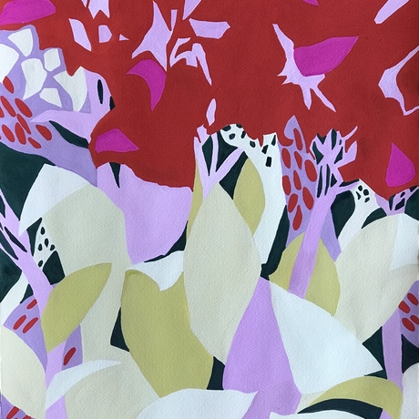 Abstract lillies using 5 colours only.