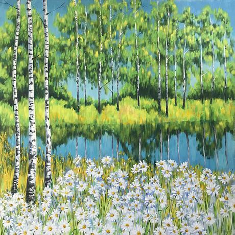 Summer landscape with white daisies and birches, the original acrylic painting by Irina Redine.