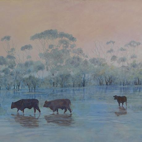 Outback western Queensland after the rains, cows looking for food. I created this work as it is in such contrast to the dry reds and greys that normally exist there.  My focus was on the cattle and the water but I really wanted to give a sense of depth; I wanted to create paths for the viewers' eyes.