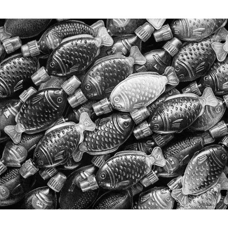 black and white drawing of little plastic soy fish bottles