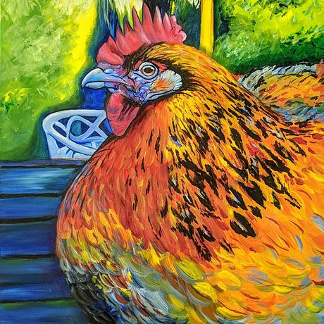 Highly colourful painting of an Isa  brown hen called Lady Oakey