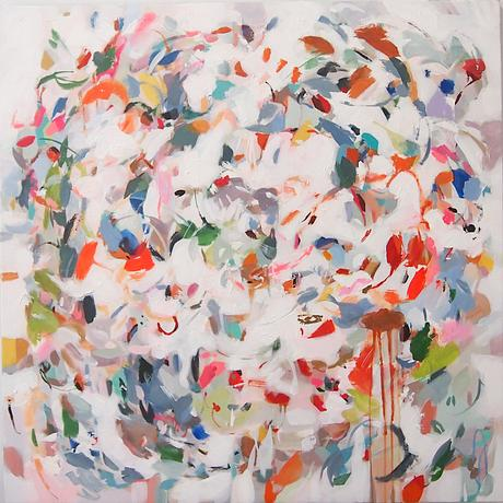 Colourful brush strokes resembling abstract petals and leaves swirling in a light breeze