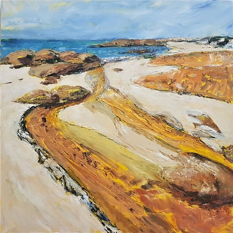 Tannin coloured water runs into the cove creating a golden river against the rocks and white sand.