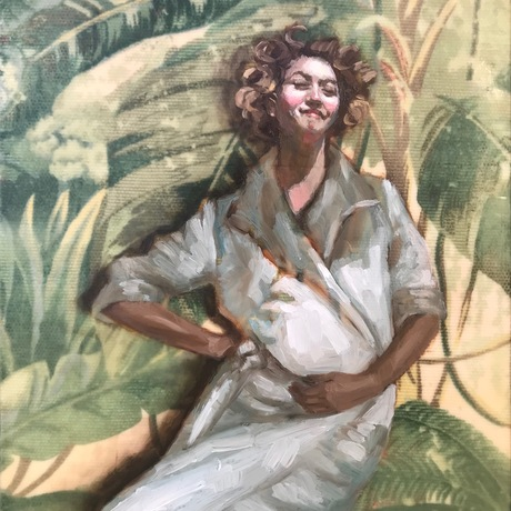 Vintage image, young lady in the jungle