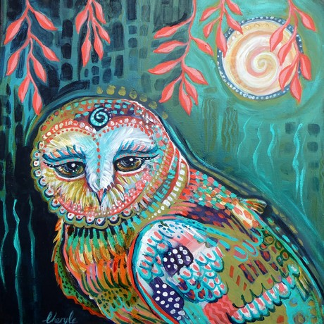 Owl in the moonlight. Magic, patterns, and inspiration.