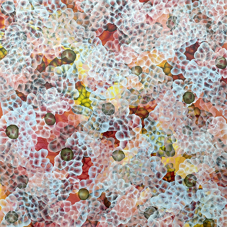 Abstract painting with dots and organic forms reminiscent of the sea or underwater. Colourful with many layers of colour and floating forms. A unique mixing of original abstract art with microbiology and science. Cellular art. Jelly fish forms.  Coral reefs. Calming and peaceful.