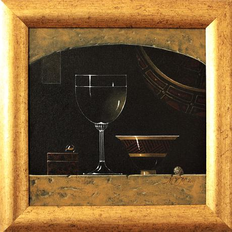 A wineglass and bowl in the style of the old Dutch masters
