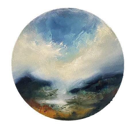 Smal round painting depicting a simplified landscape with soft expression. Distant hills and clouds.