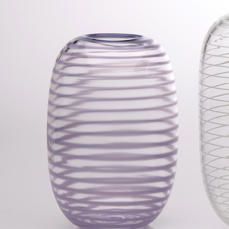 Tall, rounded clear glass vase with opaque purple spiral