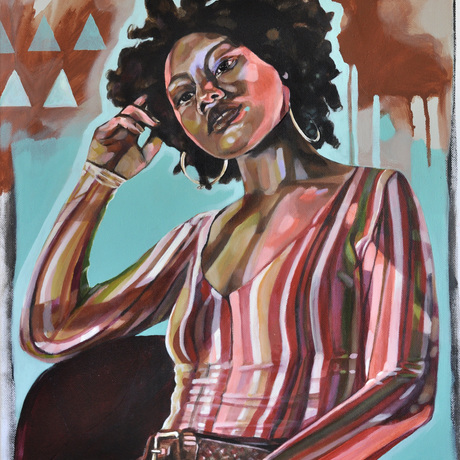 Original painted portrait of U.S. songwriter and performance artist A. Billi Free - wearing a striped long sleeve shirt lit up by neon light. A. Billi Free is of Samoan decent and has thick curly afro hair and beautiful dark features.