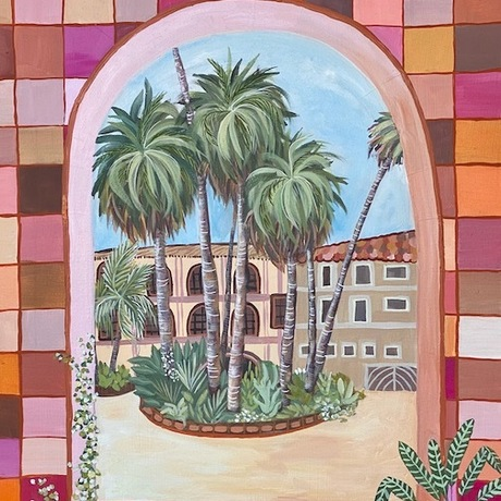 This painting gives you a glimpse into the courtyard. You can let your imagination run wild and get transported into this oasis hidden from the laneways around it.