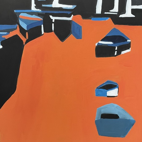 Bold orange and blues set against a black background. Shapes define the outline of small and larger boats. They are motionless at dock.