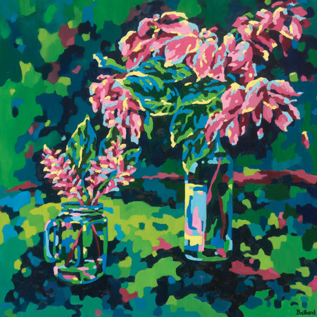 Pink tropic blooms in 2 vases with fragmented background in cool tones. Reflections on nature's bounty that keeps us cool in the tropics.