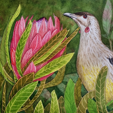Expressive bird on pink flower with foliage