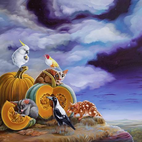Animals, birds  and pumpkins under the night sky