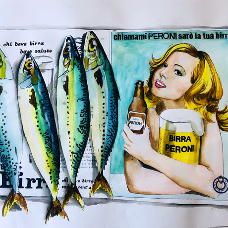 Fish on a vintage italian ad for the Beer Peroni