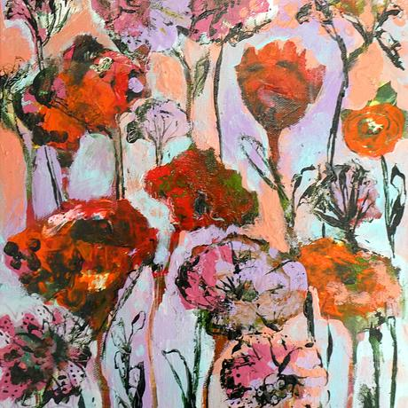 Small abstract flower painting in bright warm colours.