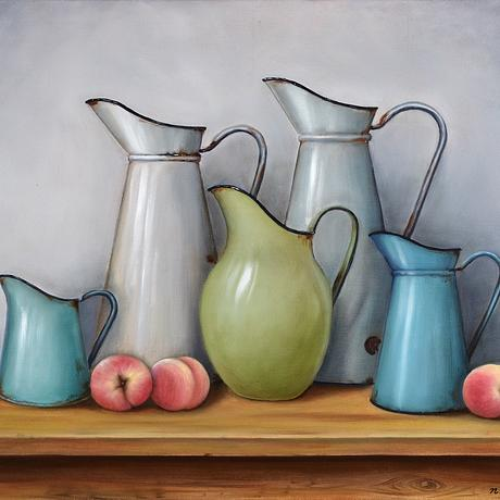 Vintage jugs with peaches on wooden bench top