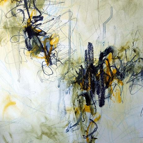 Loose gestural marks in Indian yellow  and the blue toned dark Paynes grey.