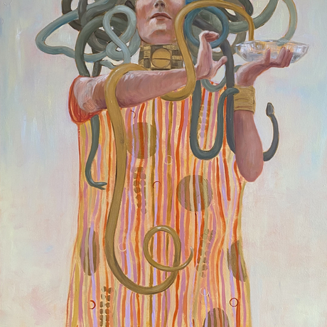 The painting shows Medusa, standing proudly with a gold snake wrapped around her arm as she hold up a small bowl of water for her snakes. This painting is inspired by Klimt's depiction of Hygeia, in his painting of Medicine for the University of Vienna, which has since been destroyed.   Hygieia is a goddess of health and hygiene, and is the mythological daughter of the god of medicine. I have used a figure similar to Klimt's, but shown her as Medusa, keeping the gold snake around her arm. Like most of Klimt's women, she is powerful and beautiful. She is looking down at the viewer with her all seeing gaze.