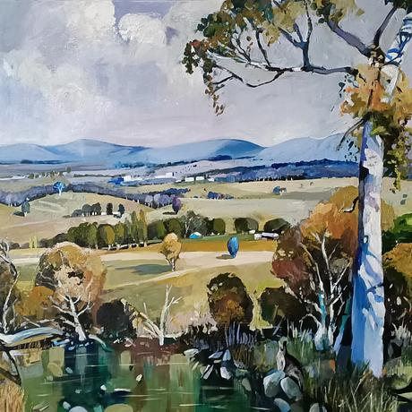 Australian rural view with mountains on the horizon a gum tree and pond.