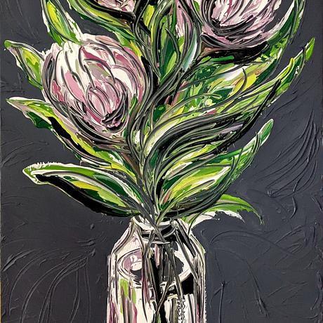 Three pastel toned proteas painted with a lot of texture on a dark grey background