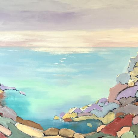 Semi-abstract. Colourful seascape with rocks and turquoise water.